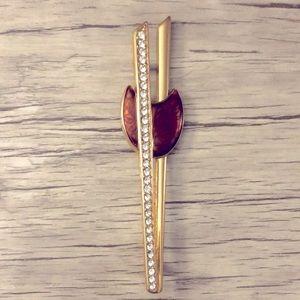 Vintage MONET Gold Rhinestone Enamel Brooch Pin